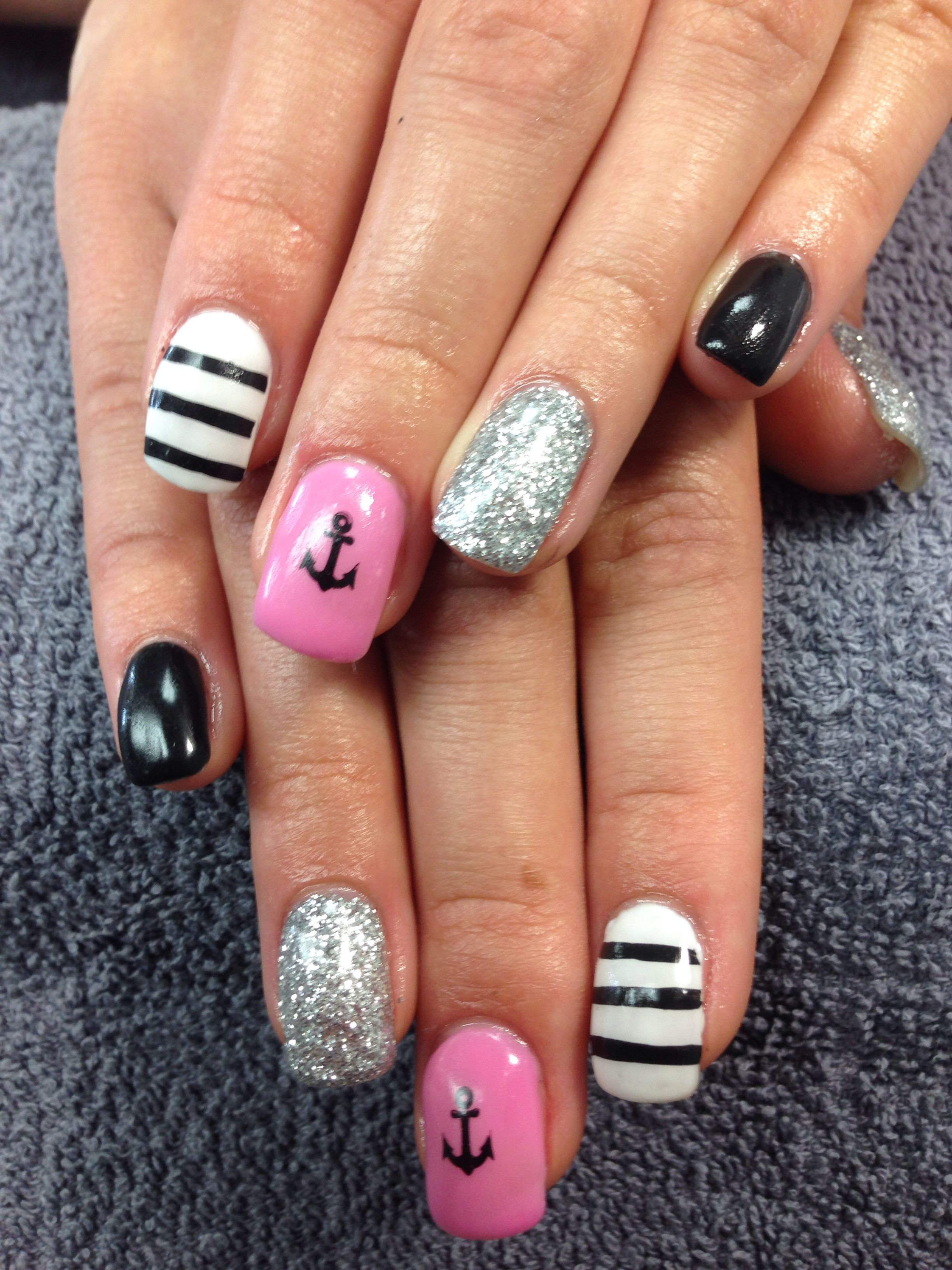 Katie\'s nails. Pink sparkly anchor gel nail art.   Nails I\'ve done ...