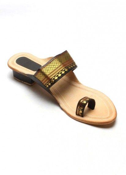 1681731abe5b Authentic Kolhapuri Chappal Ladies Paithani Heal GoldenBlack Leather  Slippers