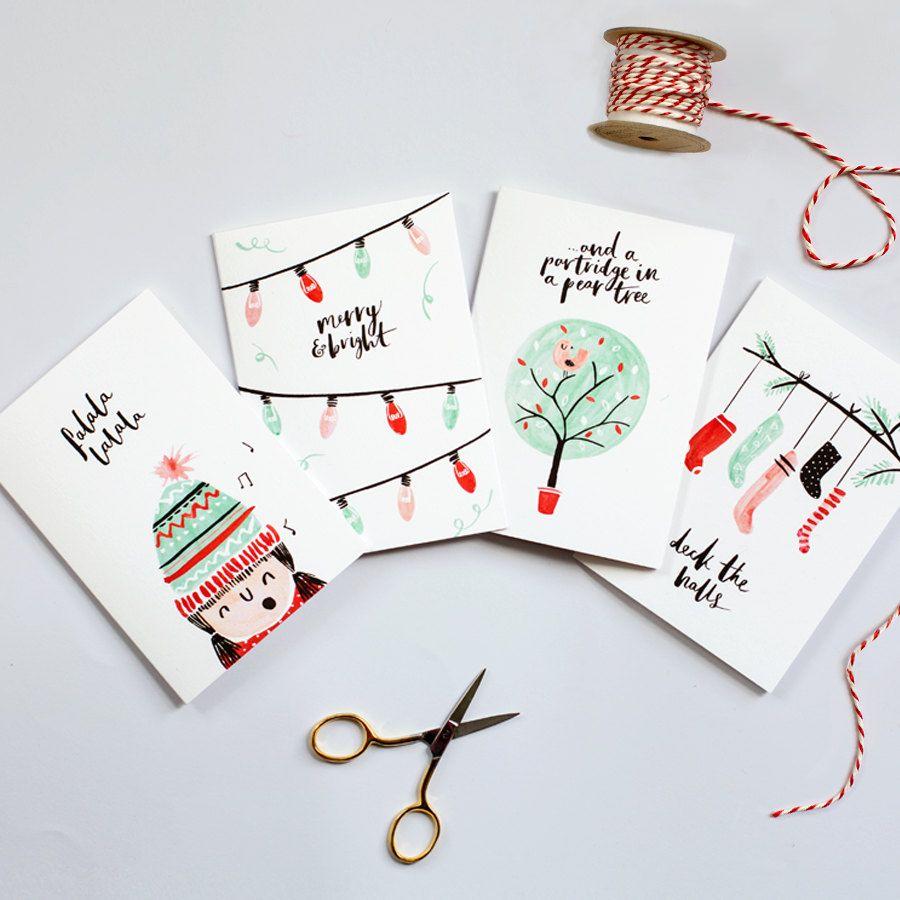 illustrated christmas cards set of 8 by thelovelydrawer on. Black Bedroom Furniture Sets. Home Design Ideas