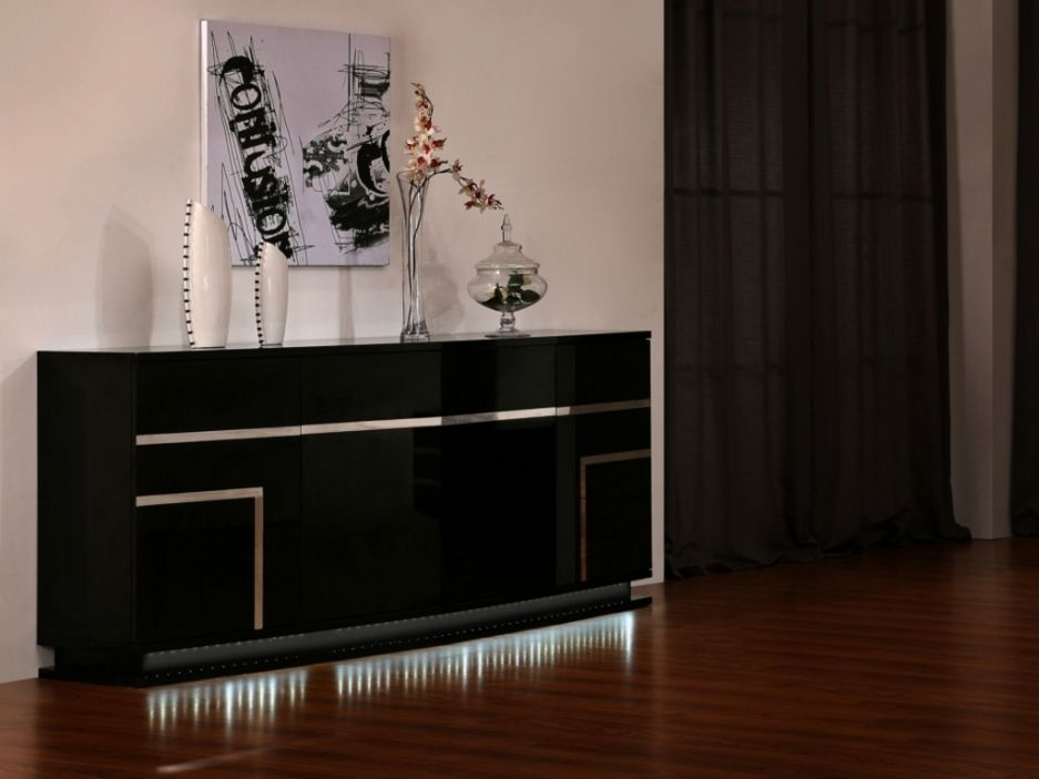 Buffet LUMINESCENCE III - MDF laqué noir et LEDs - 4 portes