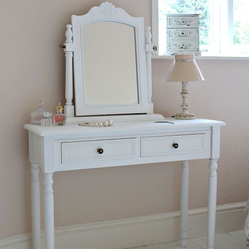Camille Range White Dressing Table With Swing Mirror