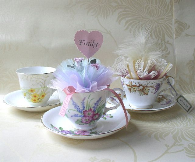Tea Cup Candle Favors Vintage Teacup Favours Lots Of Colours And Styles