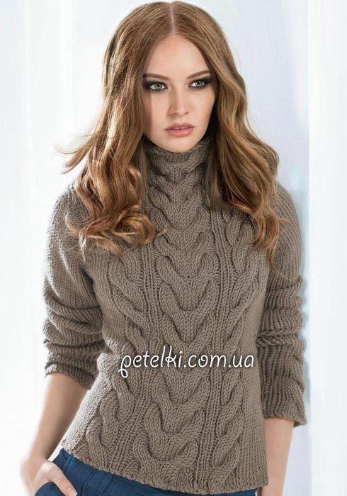 вяжем свитер косы и жгуты описание вязания выкройка вязяние