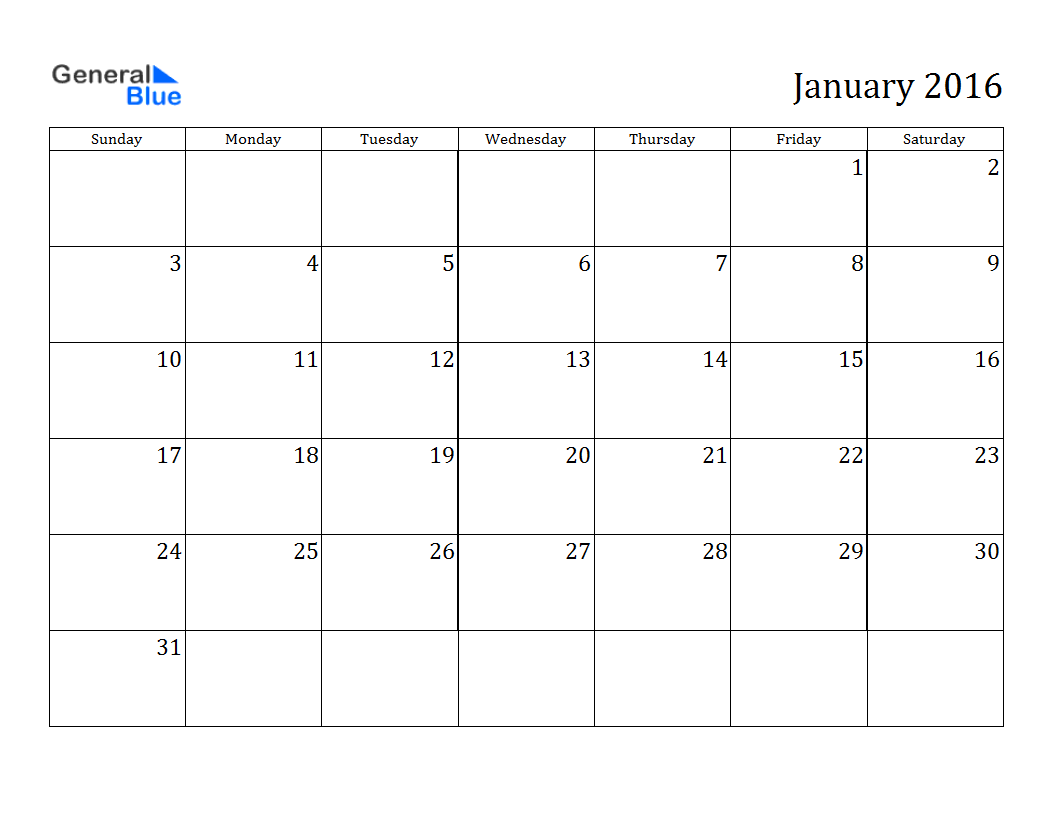January 2016 Calendar Blank | Calendar | Pinterest