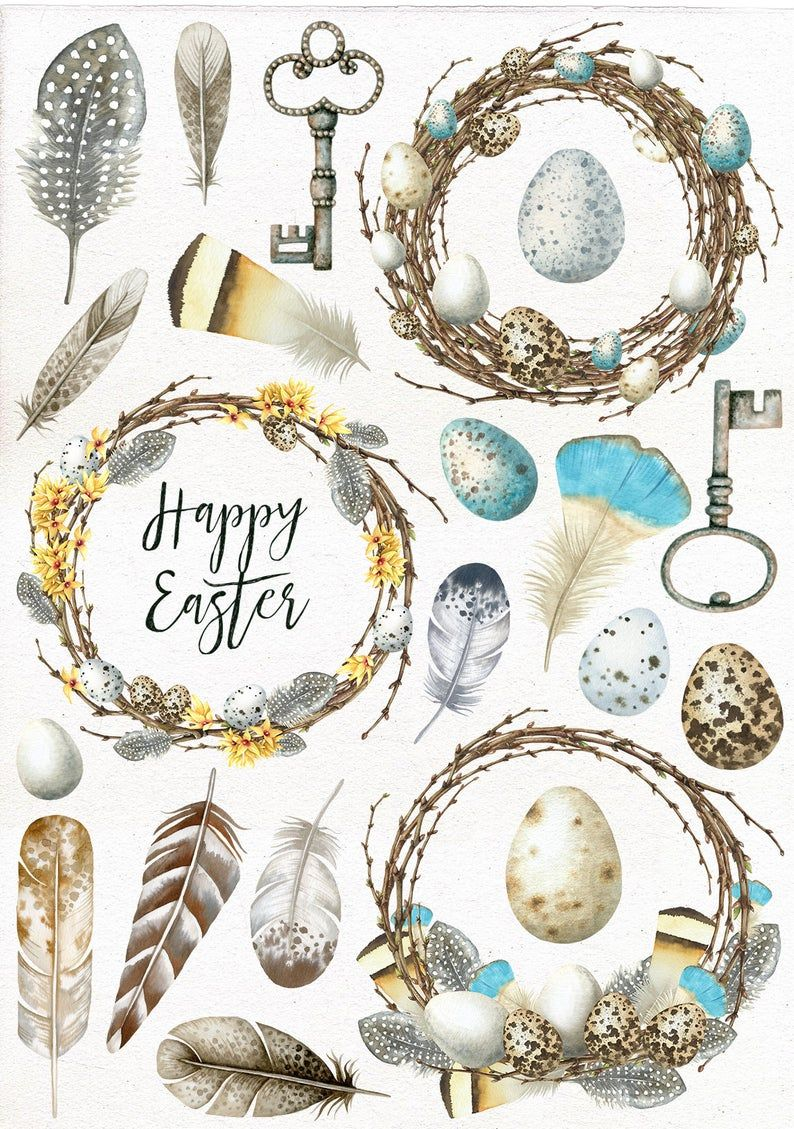 Photo of Watercolor Easter Clipart, Printable Easter Postcard, Easter Wreath, Feathers, Eggs, Vintage Key, Easter Clip Art.