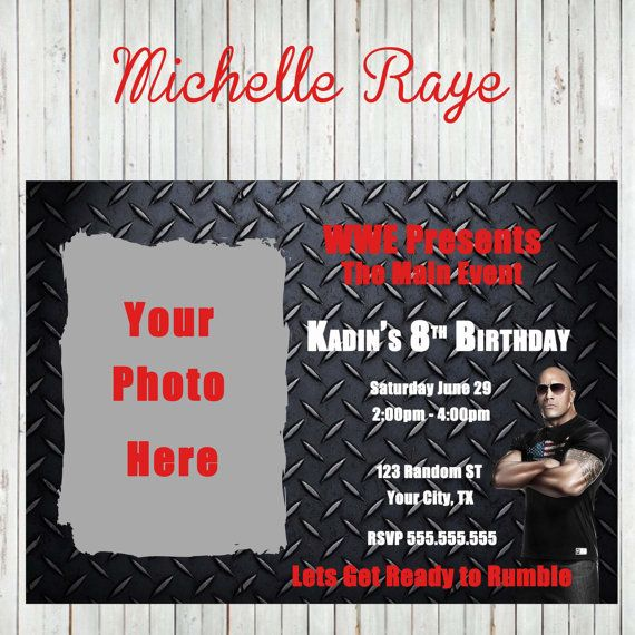 Printable Wwe Birthday Party Invitations Photo Invite Wrestling