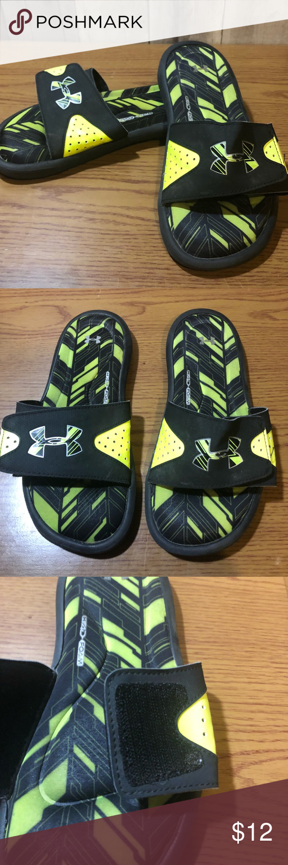 21596e9803e0 Like new Under Armour slides Only worn a handful of times. Made with cushy  4d memory foam. Under Armour Shoes Sandals   Flip Flops