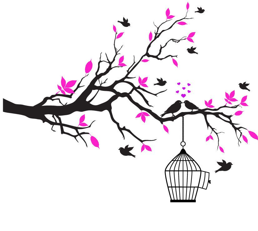 Black And White Tree Branch Decal With Birds