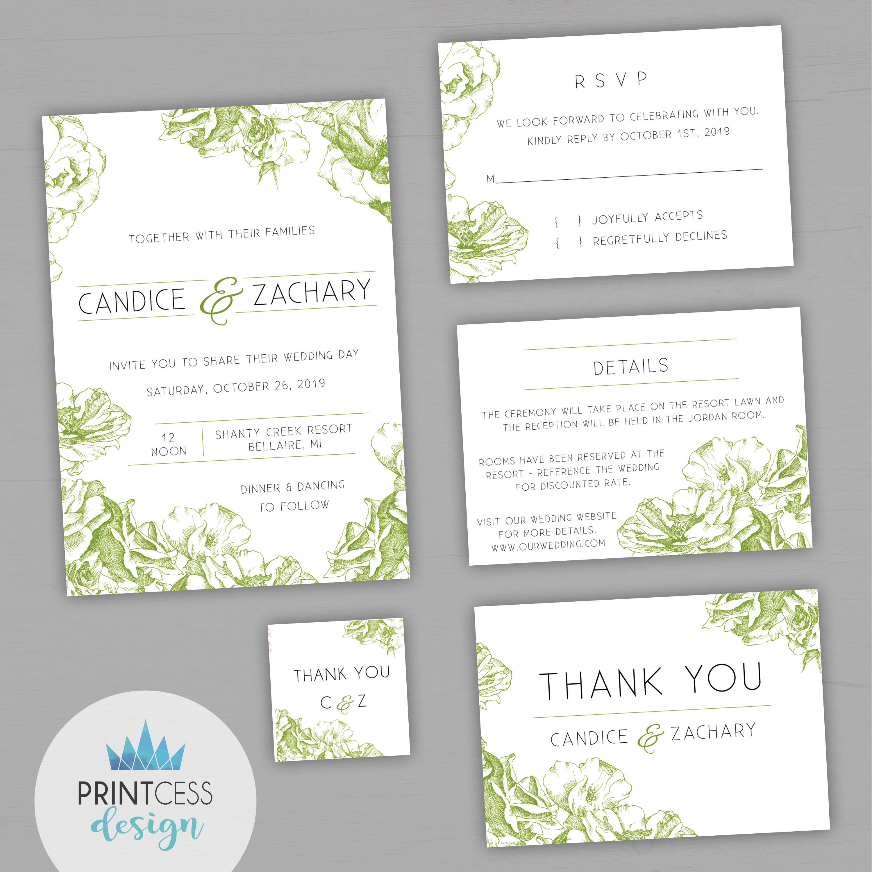 Wedding decorations to make february 2019 Modern Floral Green Black Wedding Printable Invitation Template