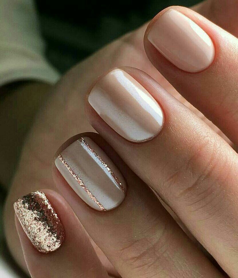 Cute Neutral And Rose Gold Nails In 2020 Rose Gold Nails Prom Nails Gold Nails