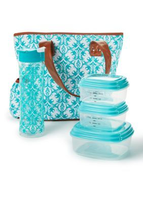 9038d57833c8 Fit & Fresh Greenville Insulated Lunch Bag Kit with Portion Control ...