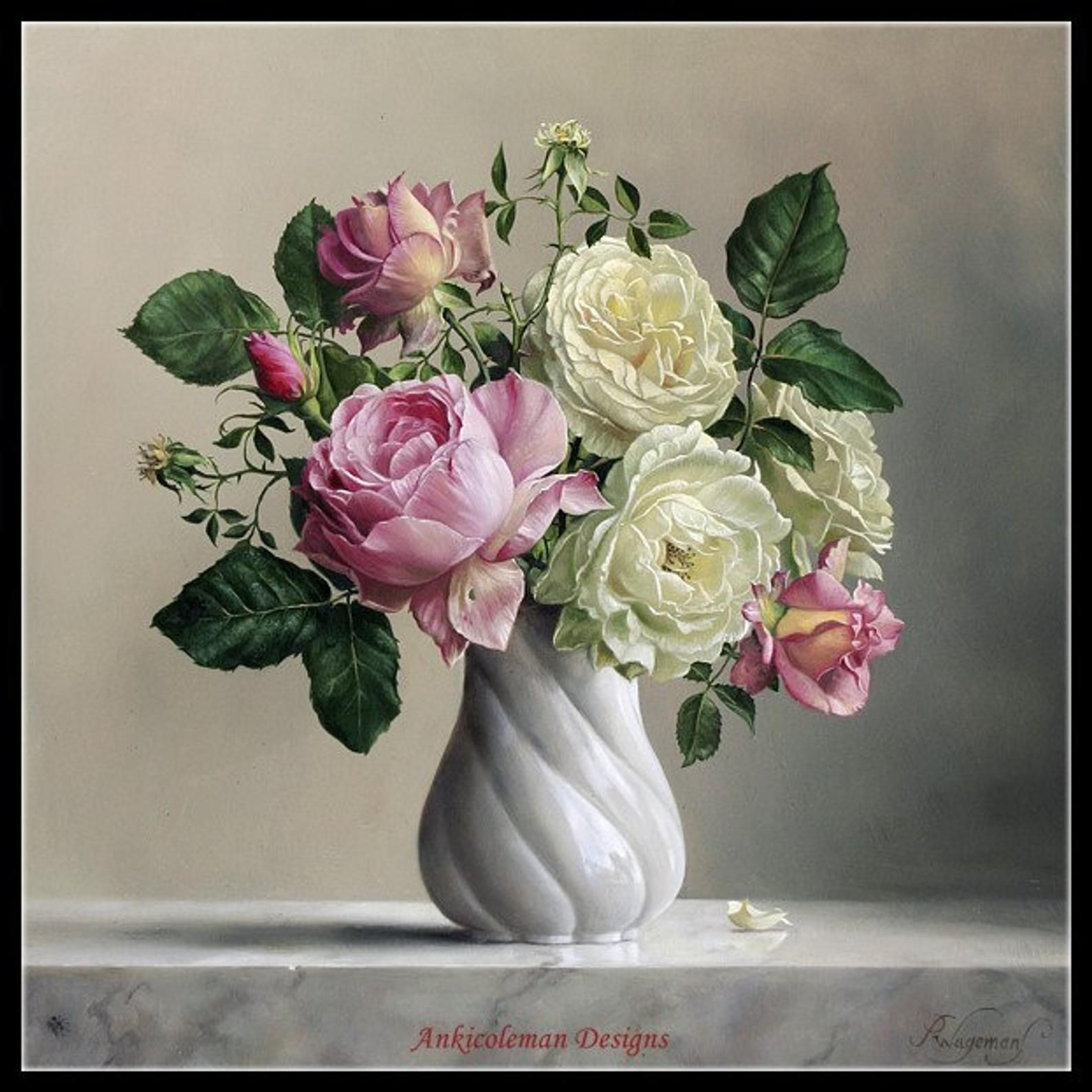 Roses In Twisted Vase 2 Counted Cross Stitch Patterns Etsy In 2020 Flower Painting Rose Painting Floral Art