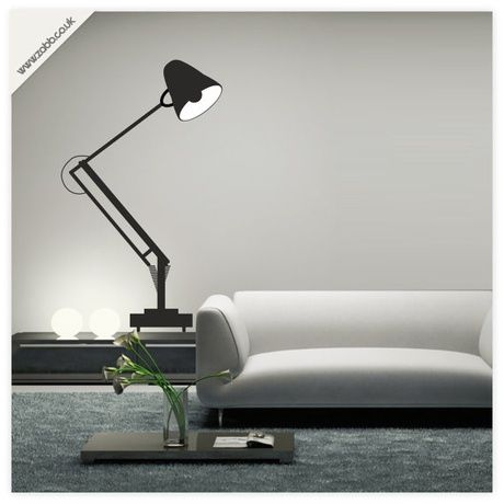Shoply.com -Angle-poise lamp vinyl wall sticker - (weeded and application tape applied). Only £14.99