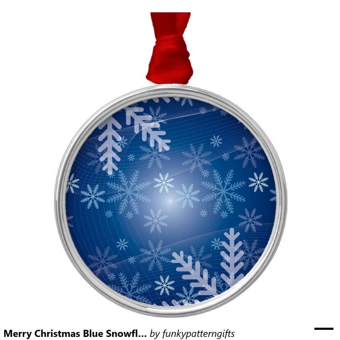 Merry Christmas Blue Snowflake Background Winter Round Metal Christmas Ornament