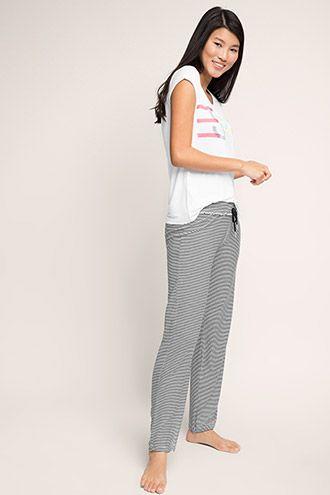 Esprit - Silkebløde, stribede bukser i jersey/stretch i Esprits Online-Shop