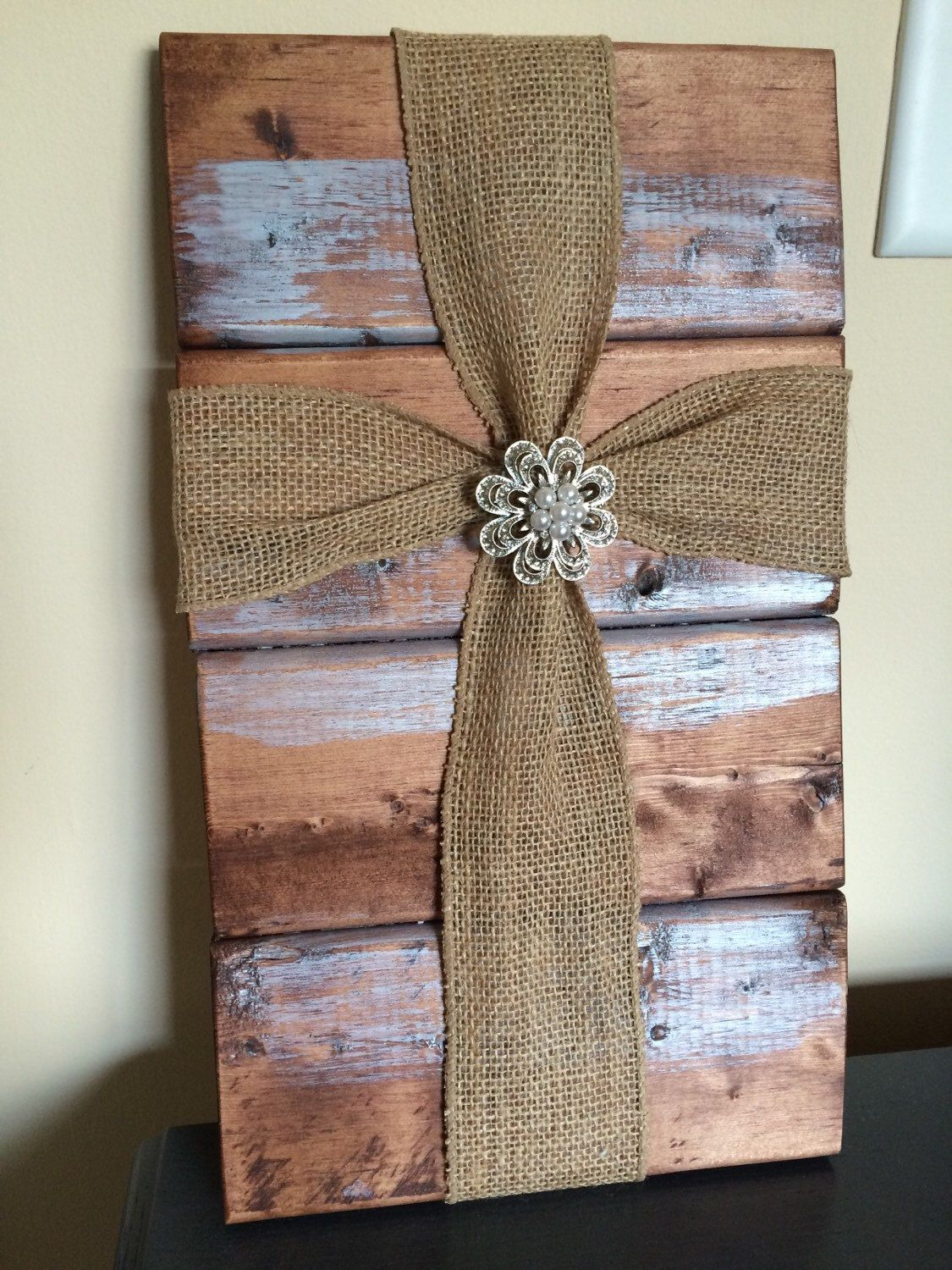 Beautiful burlap cross with vintage pendant by