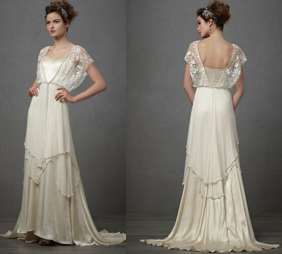 Wedding Dresses Vintage Sheath 20th 1920 Lace V Neck