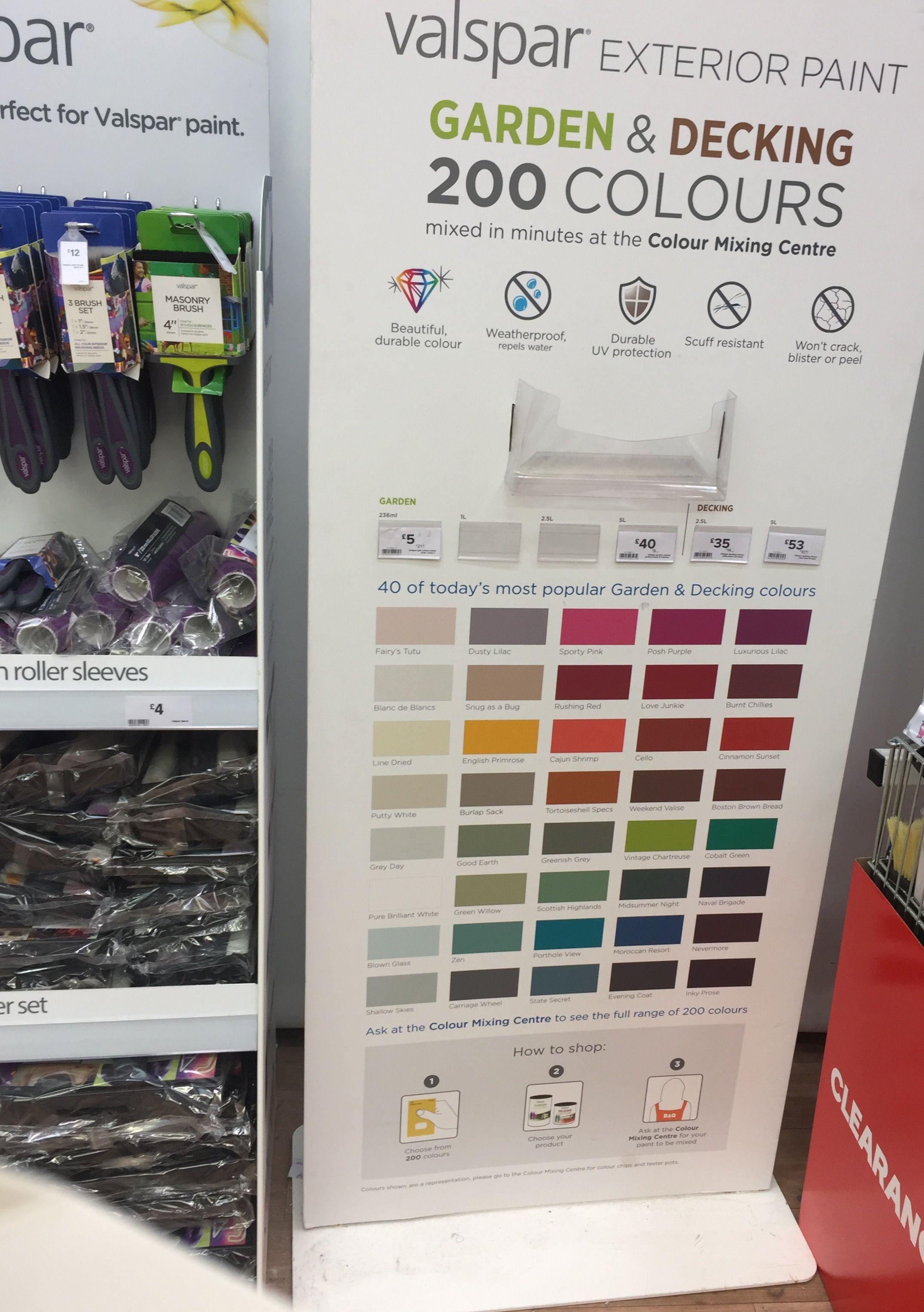 Valspar paint colours now available in    lovely for garden decking also  great range rh pinterest