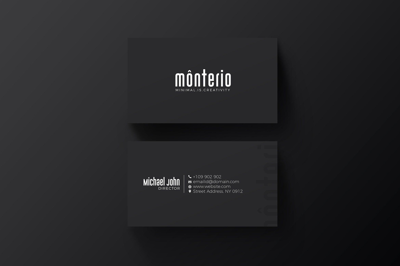 Minimal Black Business Card Black Business Card Business Card Design Black Business Card Design