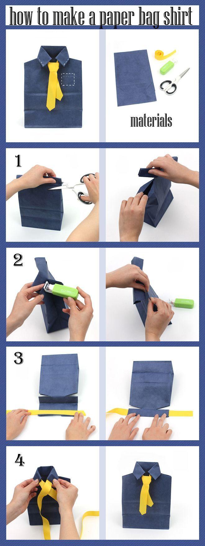 Make a shirt and tie with a paper bag! For detailed instructions, visit jetpens.com/blog. #diy #paperbagcraft