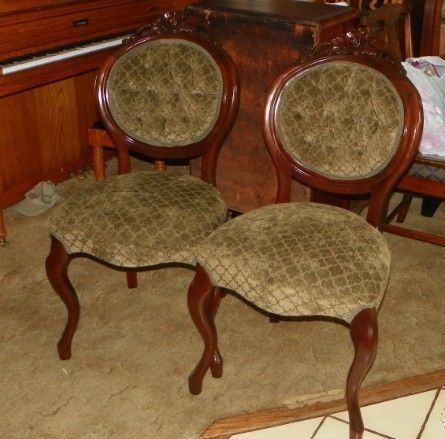 Pair of Kimball mahogany carved parlor chairs. Rose carved back splats.  Original finish. They are covered in green print chenille. - Pair Of Kimball Mahogany Carved Parlor Chairs. Rose Carved Back