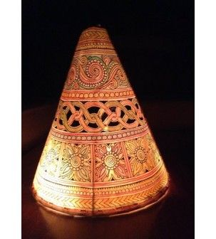 Lampshade handpainted cone leather puppet ethnic lamps lampshade handpainted cone leather puppet mozeypictures Images