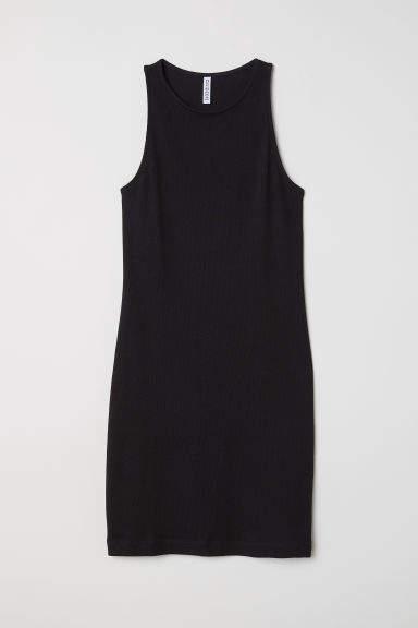 2c86c653d88c2 H M Sleeveless Jersey Dress - Black