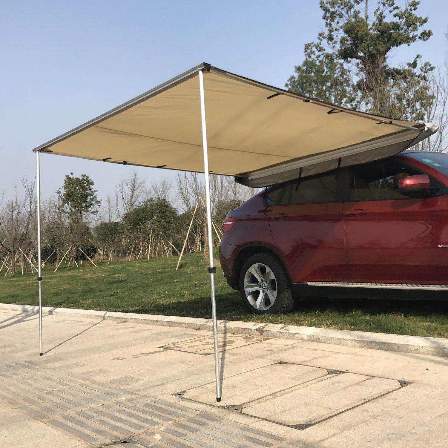 Outsunny Car Awning Portable Folding Retractable Rooftop Sun Shade Shelter Medium Car Awnings Tent Awning Sun Shade