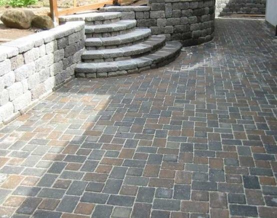 Ideas concrete paving installation paver installation for Cheap patio design ideas