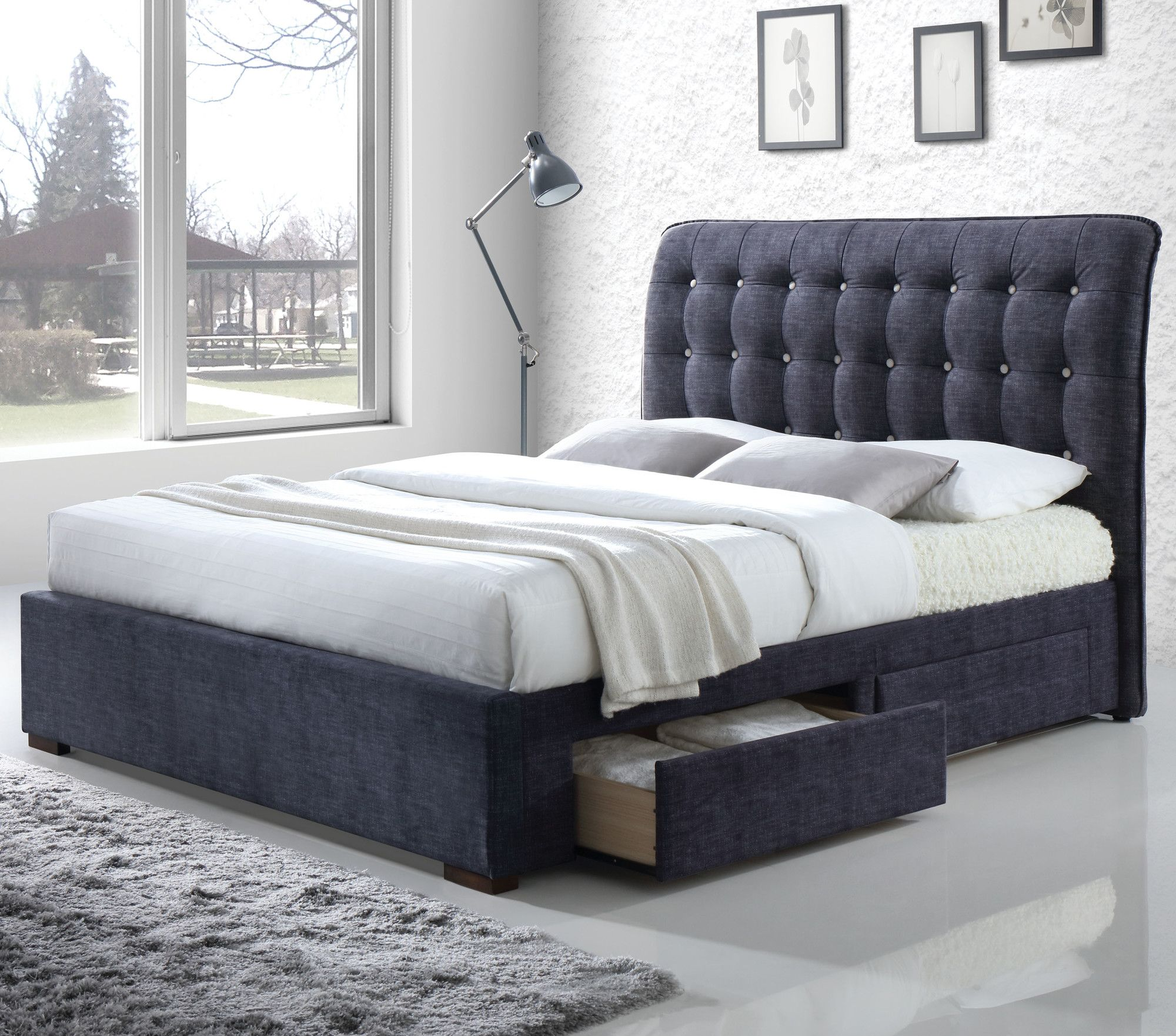 Drorit Fabric Storage Upholstered Sleigh Bed Grey Storage Bed Bed With Drawers Storage Bed Queen