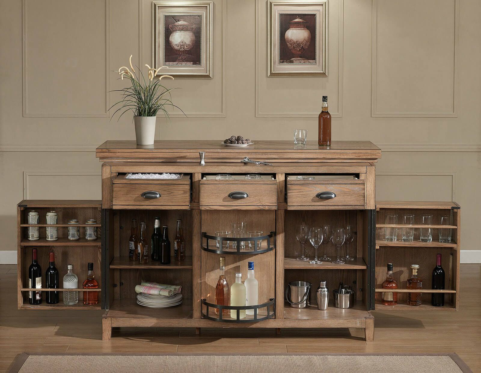 Amazing As You Can See, The Amount Of Storage In This Rustic Home Bar Cabinet Unit