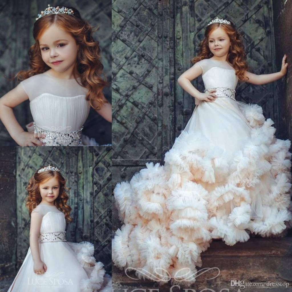 New Arrival Ruffled Flower Girl Dresses Special Occasion For Weddings Pleated Kids Pageant Gowns Ball Gown Tulle First Communion Dress Baby Girl Dress Bonnie Je Ruffle Flower Girl Dress Wedding Flower