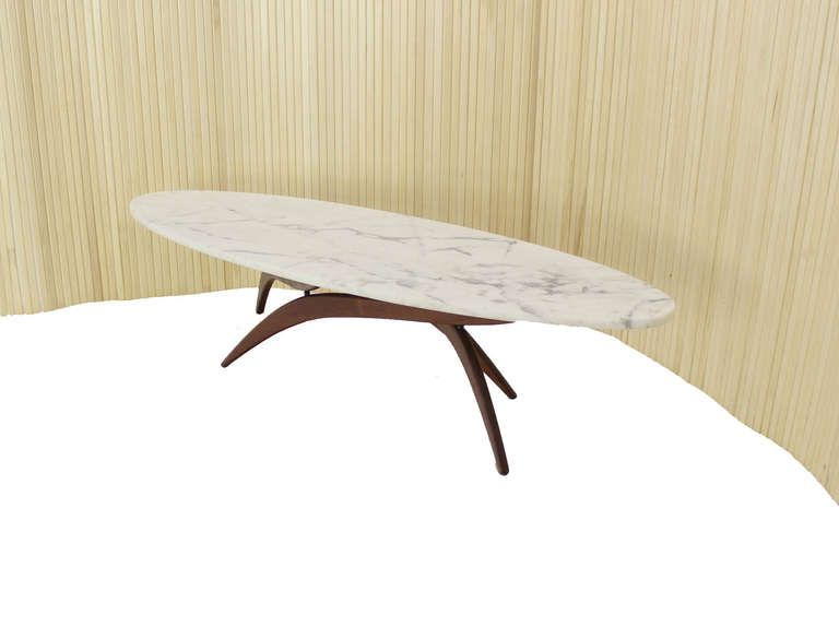 Adrian Pearsall Mid Century Modern Oval Marble Top Walnut Base Coffee Table - Adrian Pearsall Mid Century Modern Oval Marble Top Walnut Base