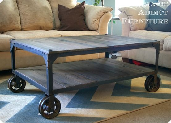 Superbe Industrial Wood And Metal Coffee Table With Casters {World Market Knock Off}