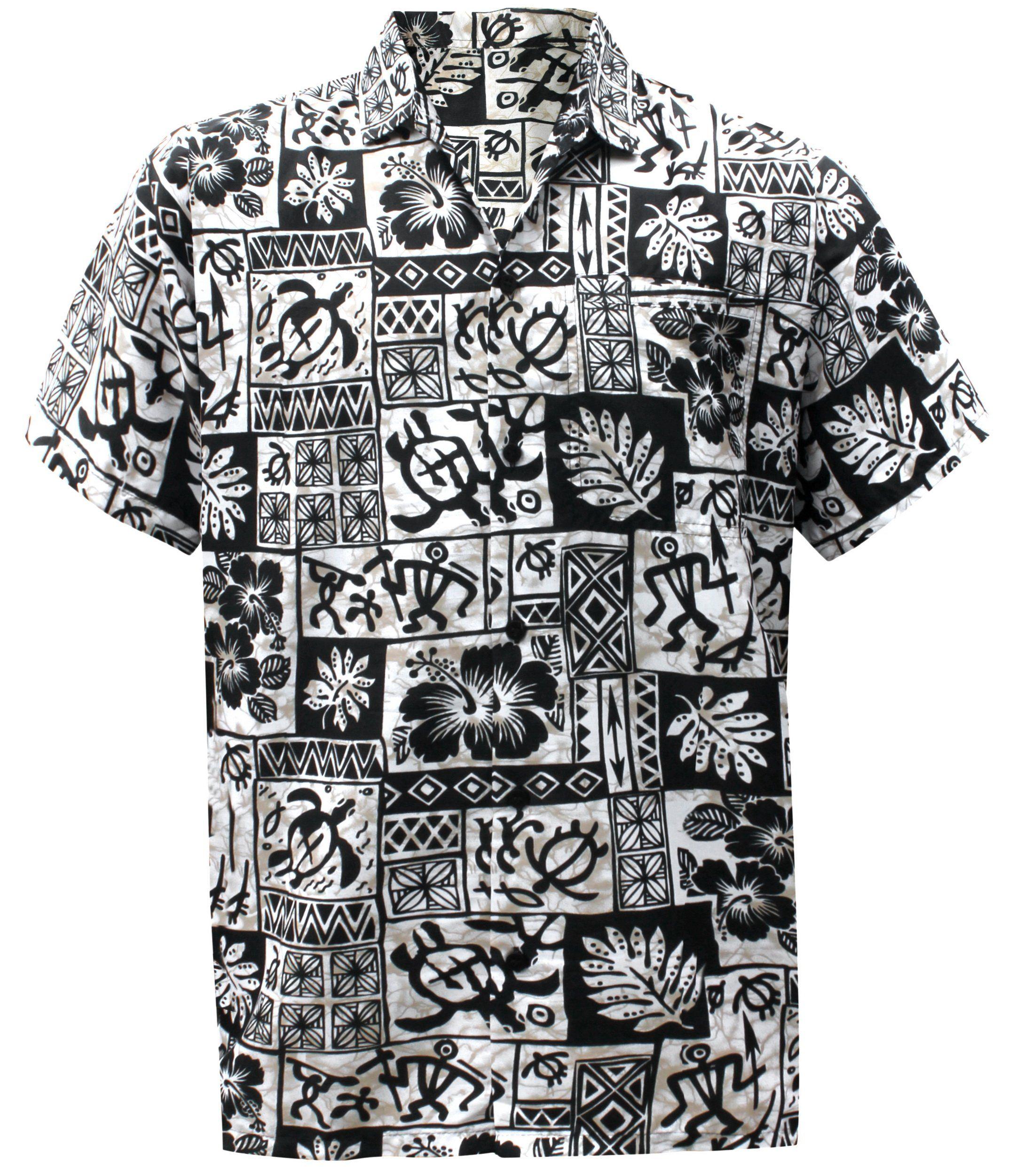 d2d065dc LA LEELA Men Regular Size Beach hawaiian Shirt Aloha Tropical Beach front Pocket  Short sleeve Black