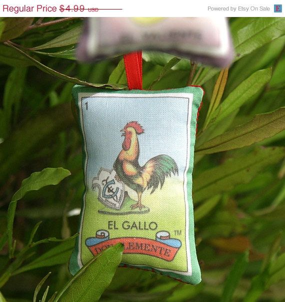 ON SALE Gallo rooster Mexican Loteria Christmas by