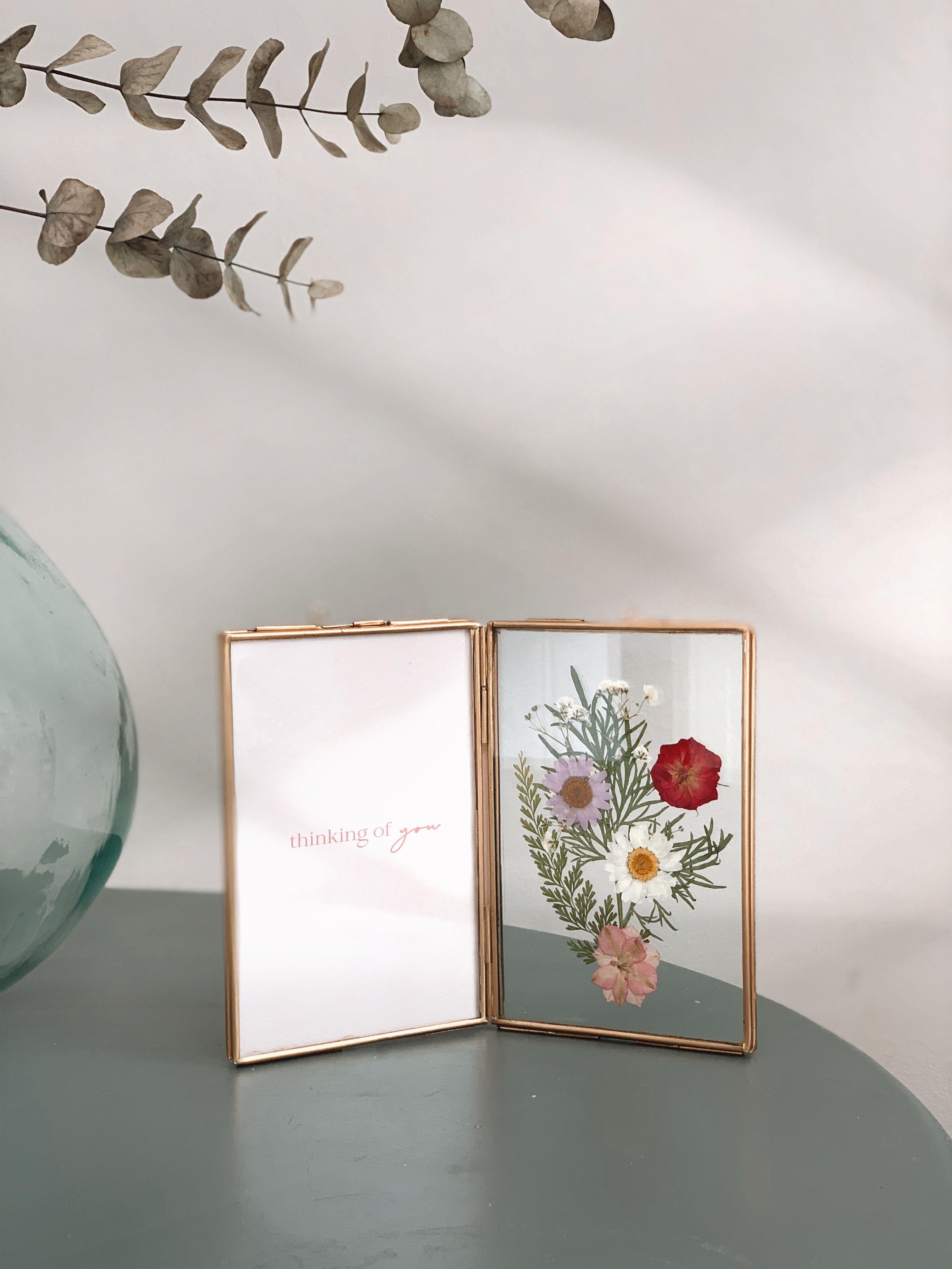 Antique Brass Folding Metal Frame With Pressed Flowers Pressed Flowers Frame Pressed Flowers Wedding Frames