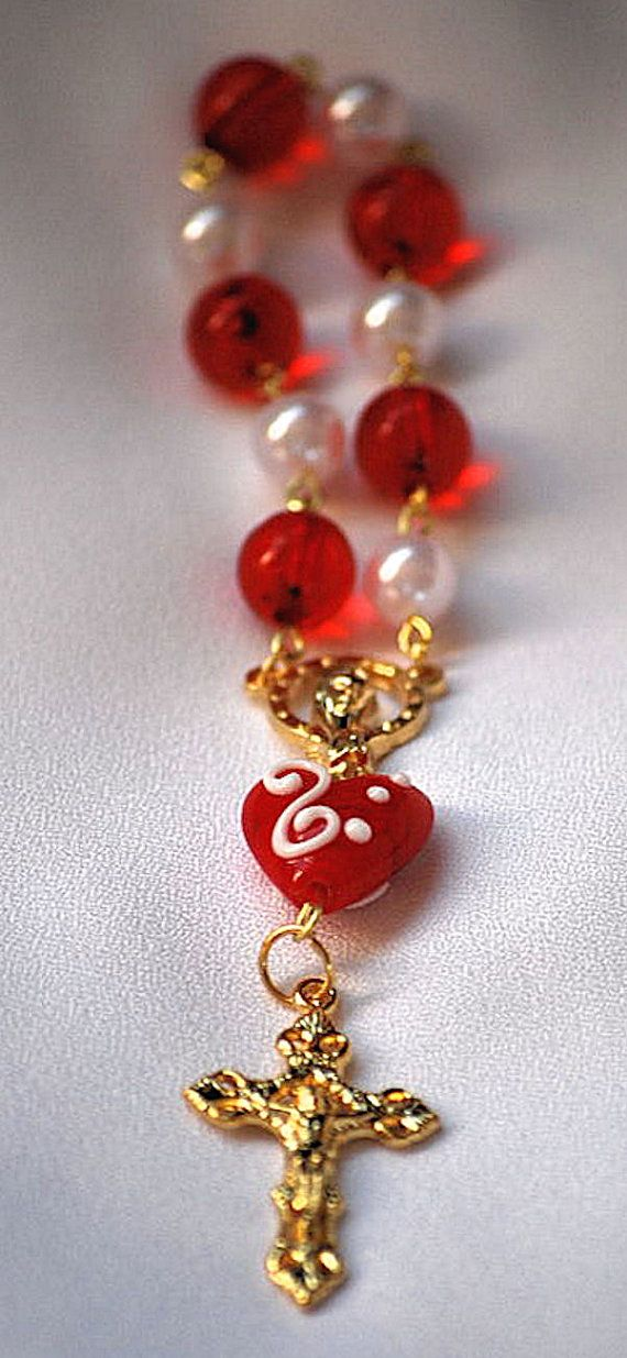 "I have created a set of 1 decade rosaries for Valentine's Day.  These are small enough to be carried in your pocket, or purse. Teens and young girls may enjoy these. There are more featured on my Etsy shop  ""All Tools Prayerful"".  http://etsy.me/s500BV"