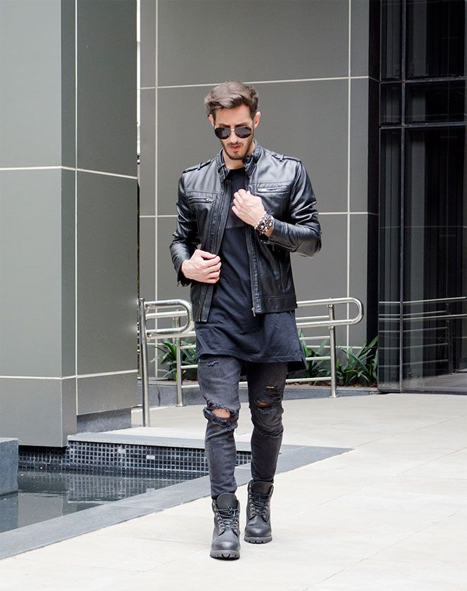 Outfit Men, Fashion Men, Men Style, all black, Zara, Timberland boots
