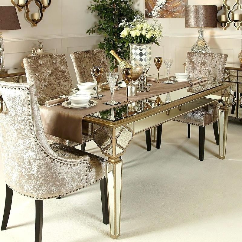 Mirrored Dining Room Set Gold Mirrored Dining Table Sophia