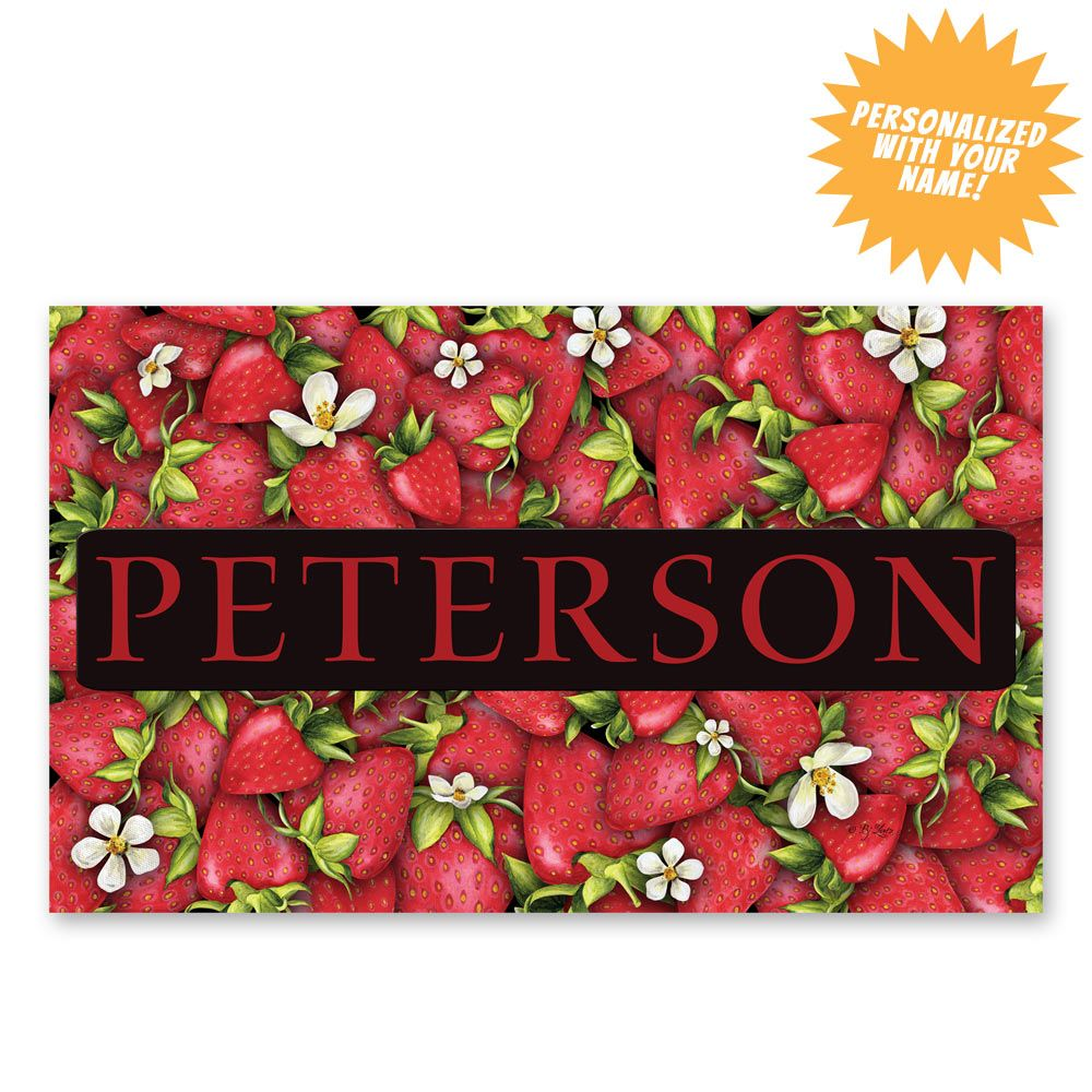 Strawberries Welcome Mat - Personalized at The Animal Rescue Site