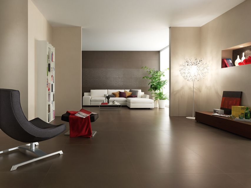 Dark Brown Porcelain Floor Tiles Like How Groutless It Looks Not Shiny Is A Plus In Bone O Brown Living Room Living Room Floor Color Contemporary Tile Floor