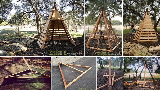 Diy Cedar Play Teepee Play Houses Wooden Teepee Play Teepee