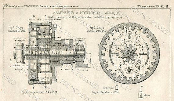 DIGITAL scan STEAMPUNK blueprint Gears Antique FRENCH Elevator Motor - new no blueprint meaning