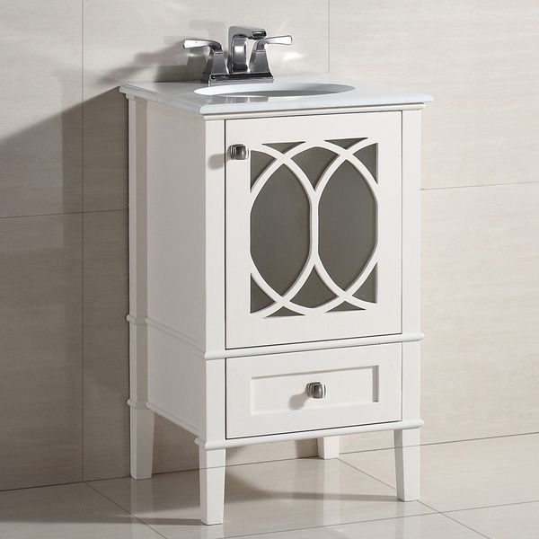 WYNDENHALL Mulberry White 21 Inch With Two Doors And Quartz Marble Top Bath  Vanity