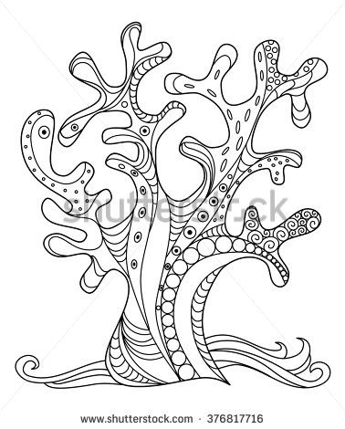 Sea coral doodle zentangle hand drawn illustration in black and ...