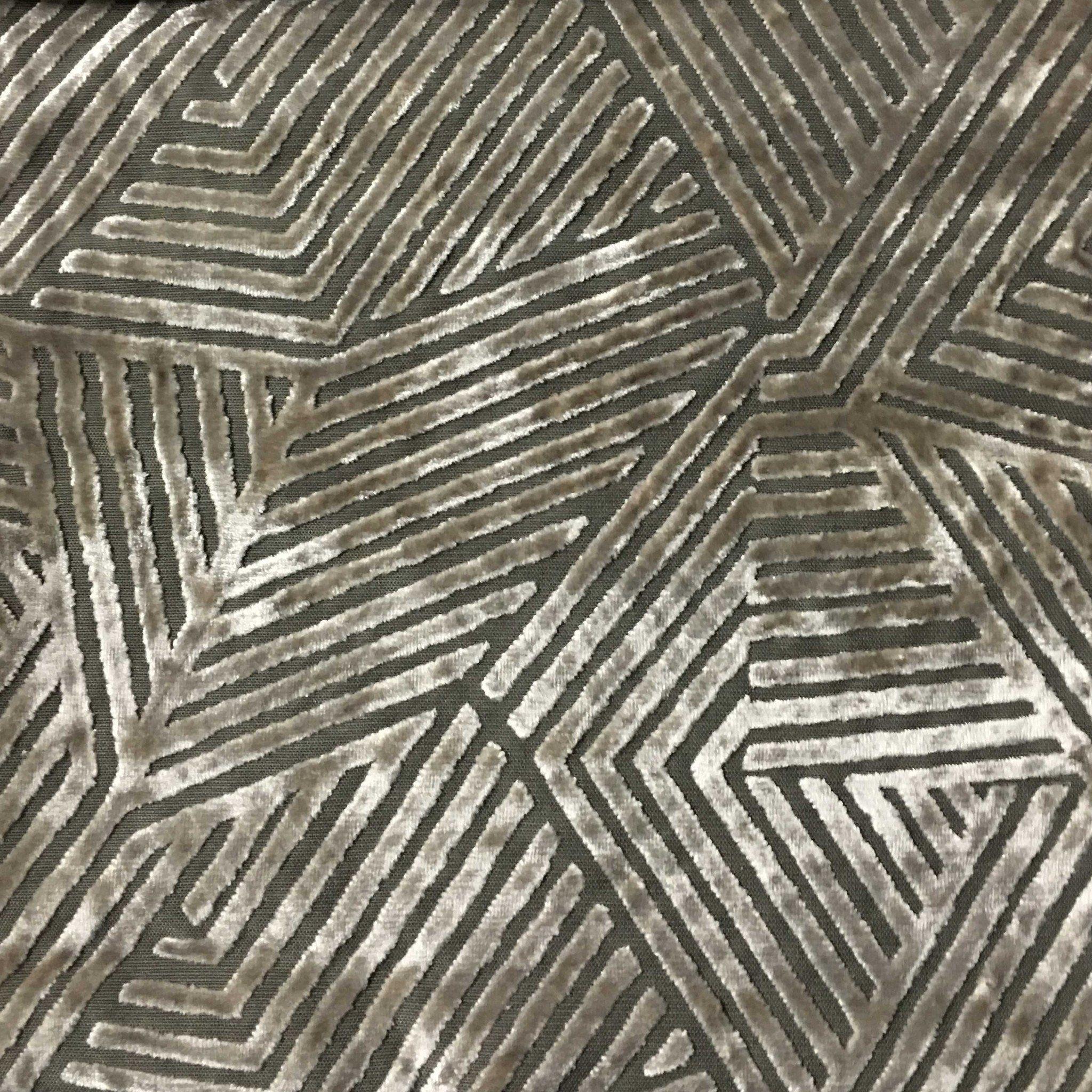 Designer Geometric Pattern Black Grey Teal Soft Raised Velvet Upholstery Fabric