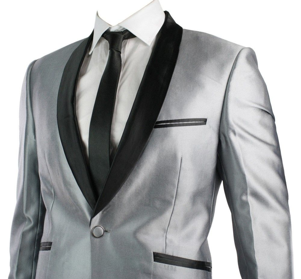 gorgeous silver suit, white wedding dress with silver detail and ...