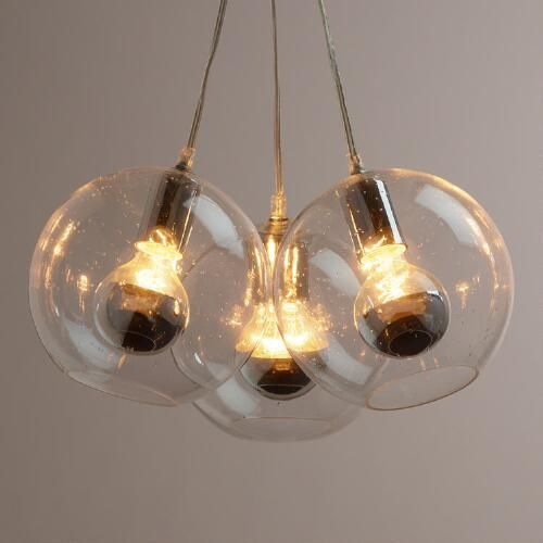 Seeded Glass Chrome Tip 3 Bulb Cluster Pendant Lamp Seeded Glass Pendant Cluster Pendant Lighting Glass Pendant Light 3 bulb pendant light