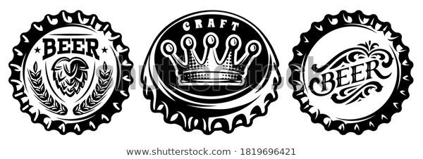 Bottle Cap Set Vector Monochrome Illustration Stock Vector Royalty Free 1819696421 Vector Monochrome Illustration